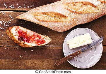 baguette, tallrik, bakgrund, hälsosam, bakat, Fransk, delad, jordgubbe, marmelad, nytt, Trä, mjuk, frukost, ost