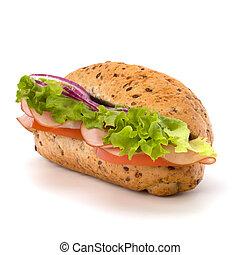 baguette, tranqueira, sanduíche, presunto, alface, queijo, alimento, grande, isolado, rapidamente, subway., experiência., apetitoso, tomate, branca, fumado