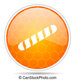 Baguette web icon. Round orange glossy internet button for webdesign.