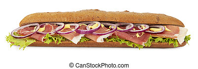 Baguette with ham on white background