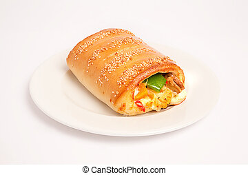 baguette with vegetables and cheese