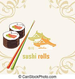 baguettes., sushi, rouleaux, étiquette