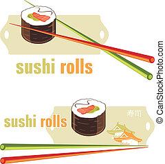 baguettes., sushi, rouleaux, icônes