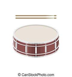 baguettes, tambour, illustration