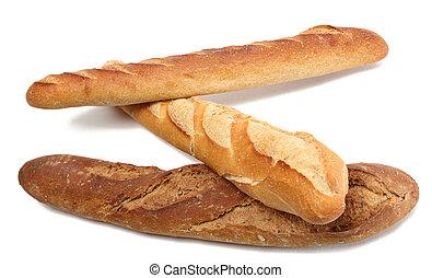 baguettes, tres, francés
