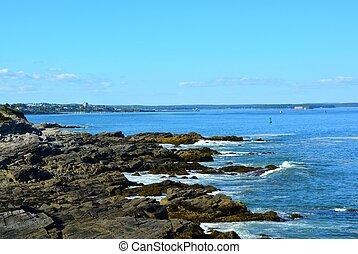 bahía, costa, escabroso, casco