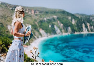 bahía, mujer, petani, pintoresco, panorama, esmeralda,...