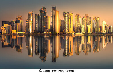 bahía, qatar, doha, céntrico, oeste, contorno