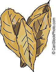 bahía, vector, fondo., ilustración, hojas, blanco