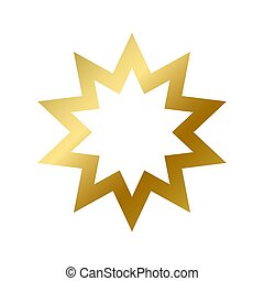 Bahai faith symbol isolated. East religious golden sign outline on white background vector design illustration. Shiny gold star. Religion and belief concept
