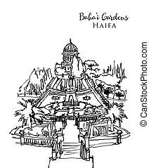 bahai, jardins, dessin, croquis, illustration, israël, haïfa