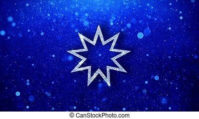 Bahai Nine pointed star Bahaism Icon Blinking Glitter...