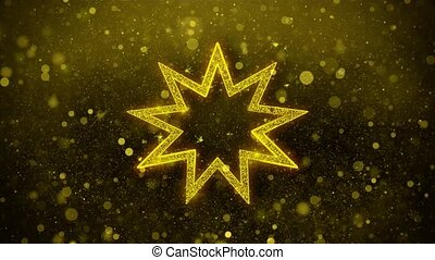 Bahai Nine pointed star Bahaism Icon Golden Glitter Shine...