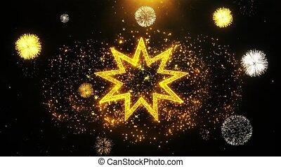 Bahai Nine pointed star Bahaism Icon on Firework Display...