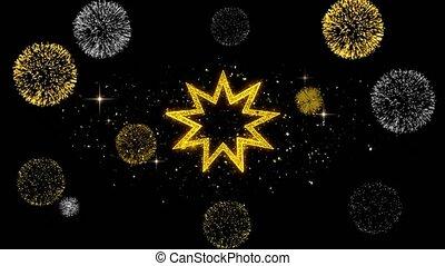 Bahai Nine pointed star Bahaism Icon on Glitter Golden...