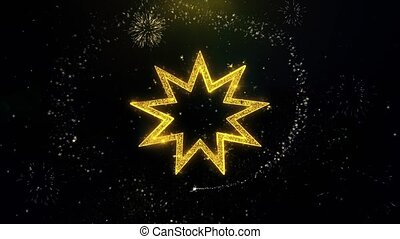Bahai Nine pointed star Bahaism Icon on Gold Particles...