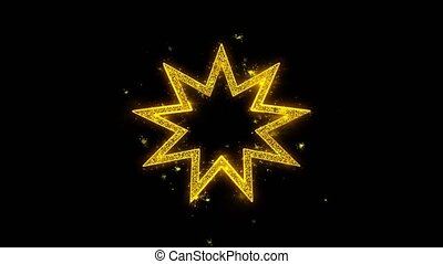 Bahai Nine pointed star Bahaism Icon Sparks Particles on...