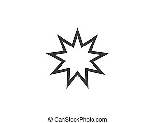 Vector illustration, flat design. Bahai religious icon