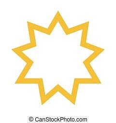 Vector illustration religious nine pointed star. Symbol of Bahai Faith. Bahaism flat icon