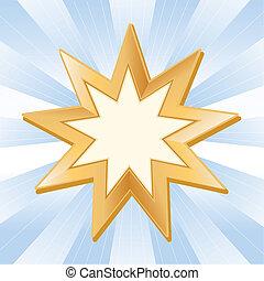 Baha'i Symbol - Symbol of Baha'i faith on sky blue ray...