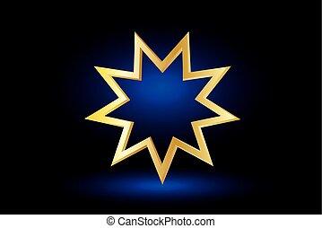 Baha'i symbol on blue background , Bahai symbol,