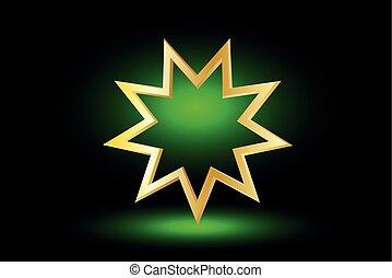 Baha'i symbol on green background , Bahai symbol,