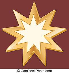 Baha'i Symbol - Symbol of Baha'i faith on crimson red...