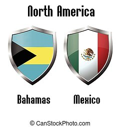 Bahamas and Mexico flag icons theme