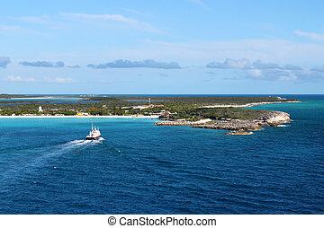bahamas, cay, luna, mitad