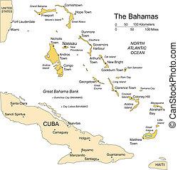 bahamas, commandant, villes, îles, capital