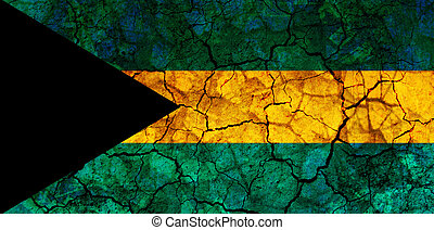 bahamas country flag painted on a cracked grungy wall