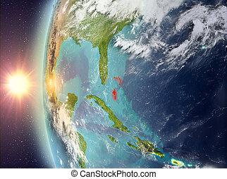 bahamas, durante, pôr do sol, espaço