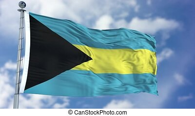 Bahamas Flag in a Blue Sky. Use this clip loud and