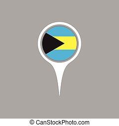 Bahamas flag location map icon , Vector illustration.
