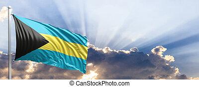 Bahamas flag on blue sky. 3d illustration