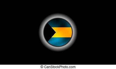 Bahamas flag on button 1080p