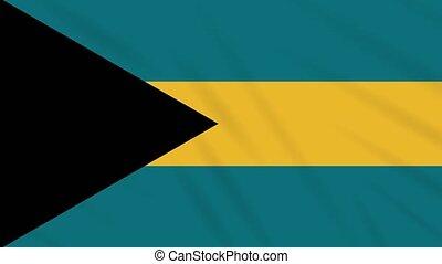 Bahamas flag waving cloth background, loop