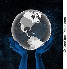 bahamas, globe, doorschijnend, handen