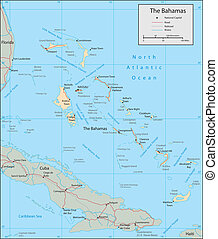 Bahamas - Vector map. Marked geographical and topographical...