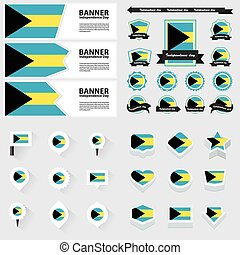 bahamas independence day, infographic, and label Set.