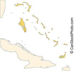 Bahamas, Islands editable vector map broken down by...