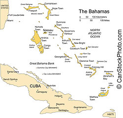 Bahamas, Islands editable vector map broken down by administrative districts includes surrounding countries, in color with cities, district names and capitals, all objects editable. Great for building sales and marketing territory maps, illustrations, web graphics and graphic design. Includes ...