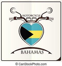 bahamas, logo, drapeau, fait, motocyclette