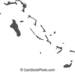 Bahamas map in black on a white background. Vector illustration