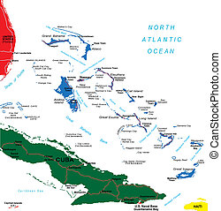 Bahamas map - Detailed vector map of Bahamas with country...