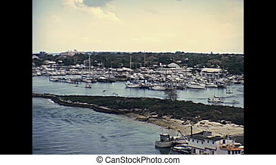 Bahamas Nassau harbour in New Providence island coastline...