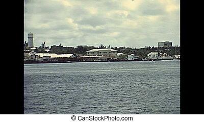 Bahamas New Providence island coastline and ports with boats...