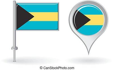 Bahamas pin icon and map pointer flag. Vector