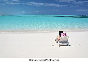 bahamas, plage, exuma, scène