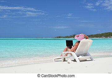 bahamas, playa., exuma, computador portatil, tropical, niña